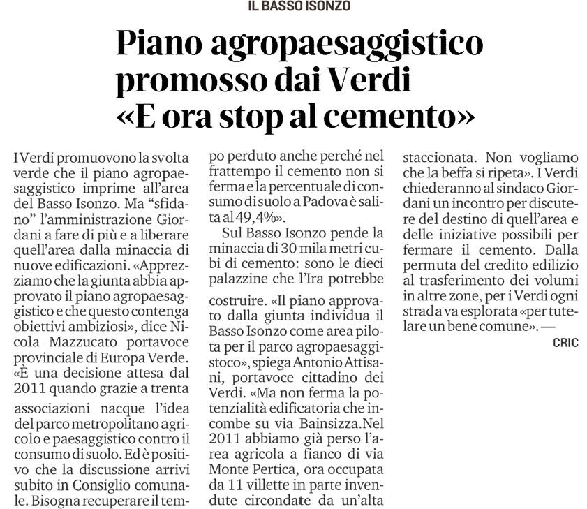 Articolo-Il-Mattino-di_padova-parco-agropaesaggistico-Basso-Isonzo-4-dicembre-2020