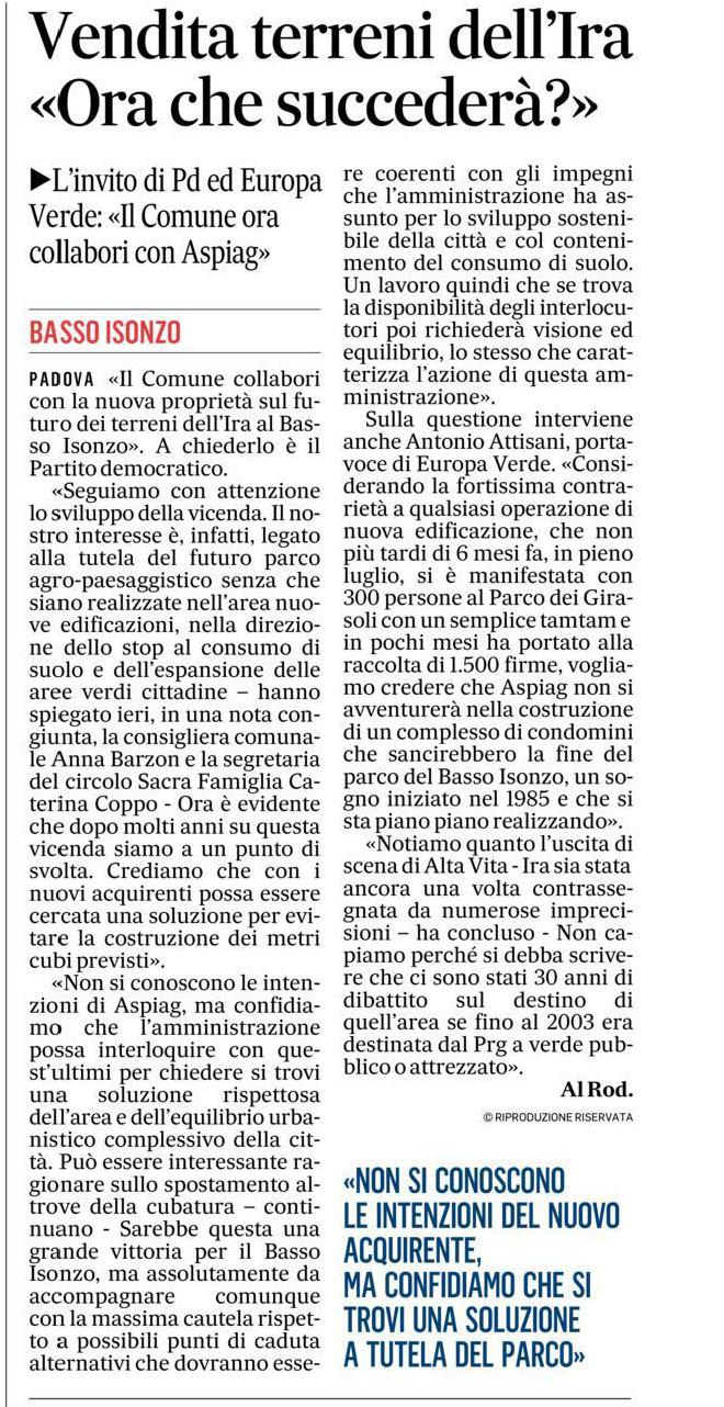 Vendita-terreni-dell'IRA-Basso-Isonzo-Padova-articolo-il-gazzettino-10-01-2021