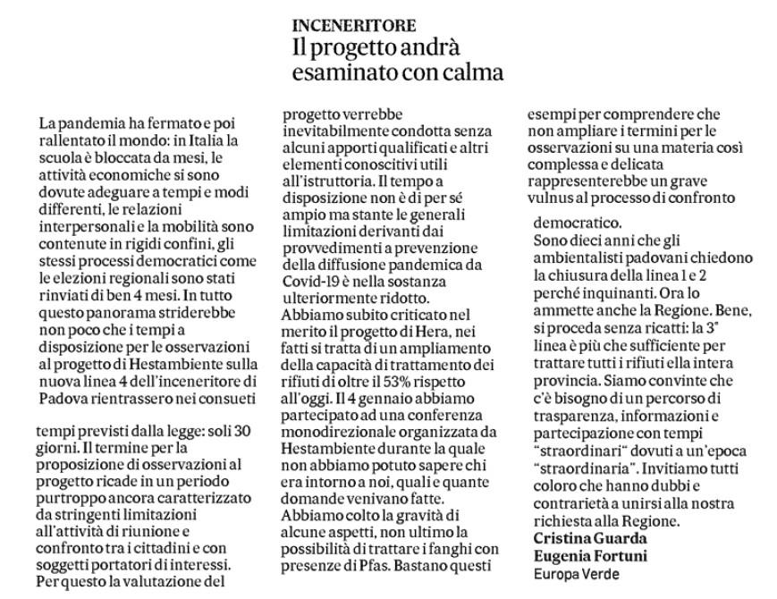 Inceneritore-Padova-articolo-Il-Gazzettino-verdi